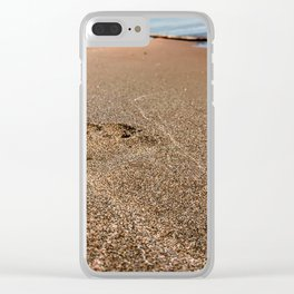 Footprint In The Sand At The Beach - Lake Erie Clear iPhone Case