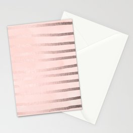 Rose Gold Pastel Pink Drawn Stripes Stationery Cards