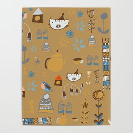 hygge cat and bird camel Poster