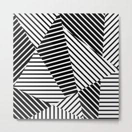 Abstract Striped Triangles Metal Print