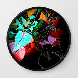 Dark Poinsettia Wall Clock
