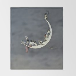 """ Moon's First Voyage"" Fairy Art by W Heath Robinson Throw Blanket"