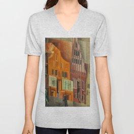 The City, Gables I, cityscape street scene painting by Lyonel Feininger Unisex V-Neck