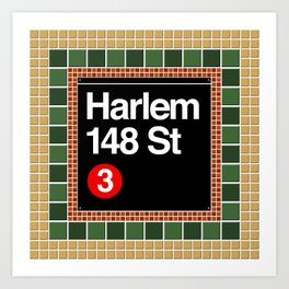 subway harlem sign Art Print