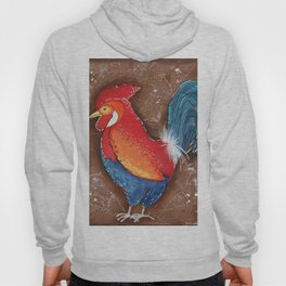Colorful Rooster on Brown Background Hoody