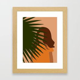 Tropical Reverie - Modern Minimal Illustration 09 - Girl with palm leaf - Tropical Aesthetic - Brown Framed Art Print