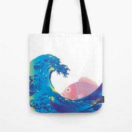 Hokusai Rainbow & Jpanese Snapper  Tote Bag