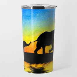 African Sunset Elephant Silhouette Travel Mug