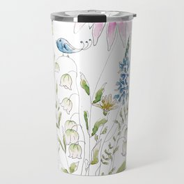 wild flowers and blue bird _ink and watercolor 1 Travel Mug