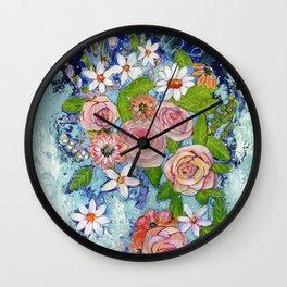 Celestial Sky Flower Garden Wall Clock