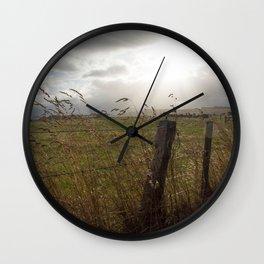 Sundown on the fields Wall Clock
