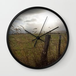 Sundown on the fields Wall Clock
