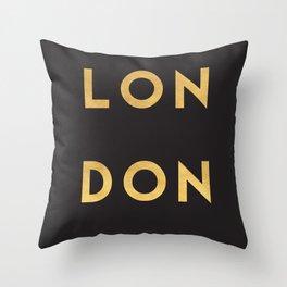LONDON ENGLAND GOLD CITY TYPOGRAPHY Throw Pillow