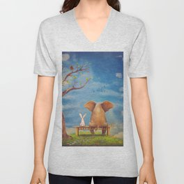Elephant and rabbit sit on a bench on the glade Unisex V-Neck