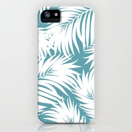 Palm Tree Fronds White on Soft Blue Hawaii Tropical Décor iPhone Case