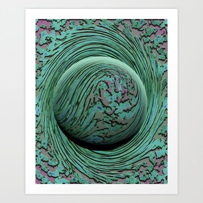 Green Singularity - Abstract Swirling Globe Art Print