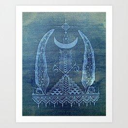 feathers in indigo crescent moon Art Print