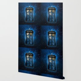 Beautiful tardis with yellow stained glass windows Wallpaper