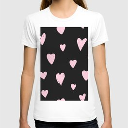 Pink hearts doodles pattern  T-shirt