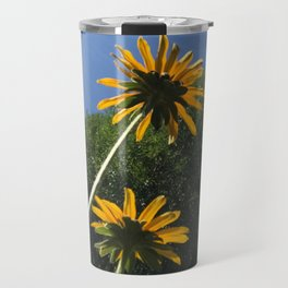 Black-Eyed Susans, autumn yellow flowers, blue sky Travel Mug