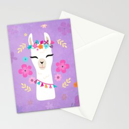 Cute Happy Llama - Purple Boho Alpaca with Flowers Stationery Cards