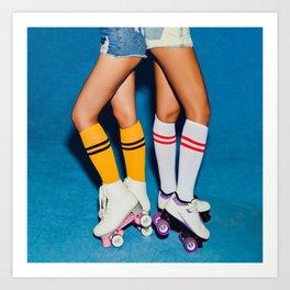 Two long-legged girls in knee socks, half-hose on roller skating vintage derby posing in the skatepark. Vintage american photo Art Print