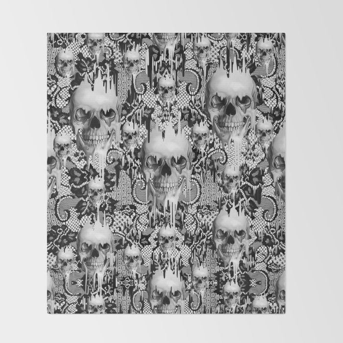 Victorian Gothic Lace Skull Pattern Throw Blanket