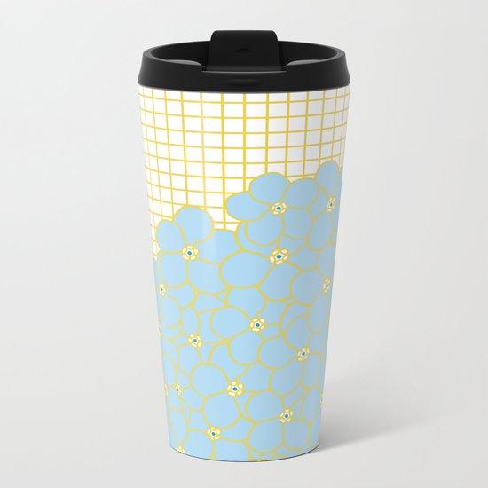 Forget Me Knot Gold Grid Metal Travel Mug