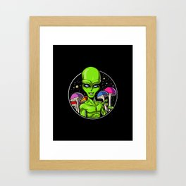 Alien Psychedelic Psilocybin Magic Mushrooms Framed Art Print