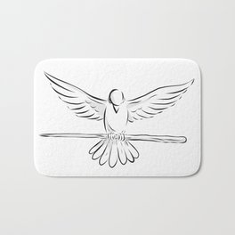 Soaring Dove Clutching Staff Front Drawing Bath Mat