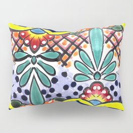 Colorful Talavera, Yellow Accent, Large, Mexican Tile Design Pillow Sham