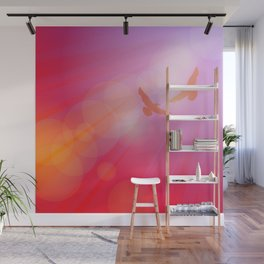 Birds, seagulls silhouette on pink background, sunset, dawn. Wall Mural