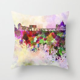 Rome skyline in watercolor background Throw Pillow