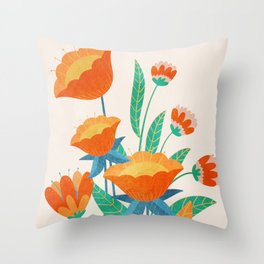 Summer Flowers I Throw Pillow