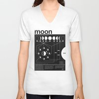 friends V-neck T-shirts featuring Phases of the Moon infographic by Nick Wiinikka