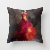dress Throw Pillows featuring Fire dress by Dnzsea