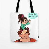 wreck it ralph Tote Bags featuring Vanellope and Ralph by Hattie Hedgehog