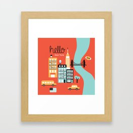 Hello New York - retro manhattan NYC icons illustration Framed Art Print