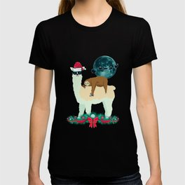 Llama Sloth Christmas Santa's Sleigh Silhouette In Front Of The Moon T-shirt