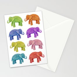 Colorful Parade of Elephants in Red, Orange, Yellow, Green, Blue, Purple and Pink Stationery Cards