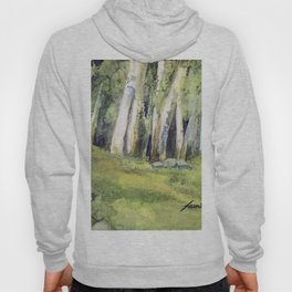 Woodland Landscape Watercolor Vermont Painting Birch Trees Spring Fields Hoody