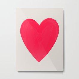Big Neon Heart - Hot Pink Metal Print