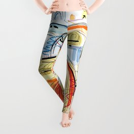 Decorative background with the motif of a camera drawn in colored strokes Leggings