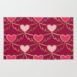 Golden Wings of Love (pattern) wine Rug