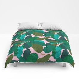 Tropicana Banana Leaves in Classic Pink Comforters