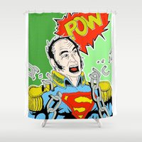 super hero Shower Curtains featuring Super by Jorge Daszkal
