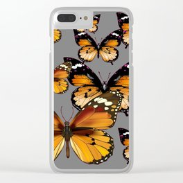 DECORATIVE BUTTERSCOTCH & TOFFEE BROWN BUTTERFLIES ART Clear iPhone Case
