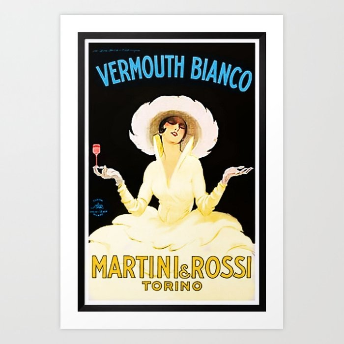 Vintage Martini And Rossi Vermouth Bianco Lithograph Advertising Wall Art. Art Print by Society6