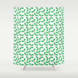 Holiday Holly and Berries Shower Curtain