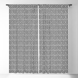 Large Black and White Greek Key Interlocking Repeating Square Pattern Blackout Curtain